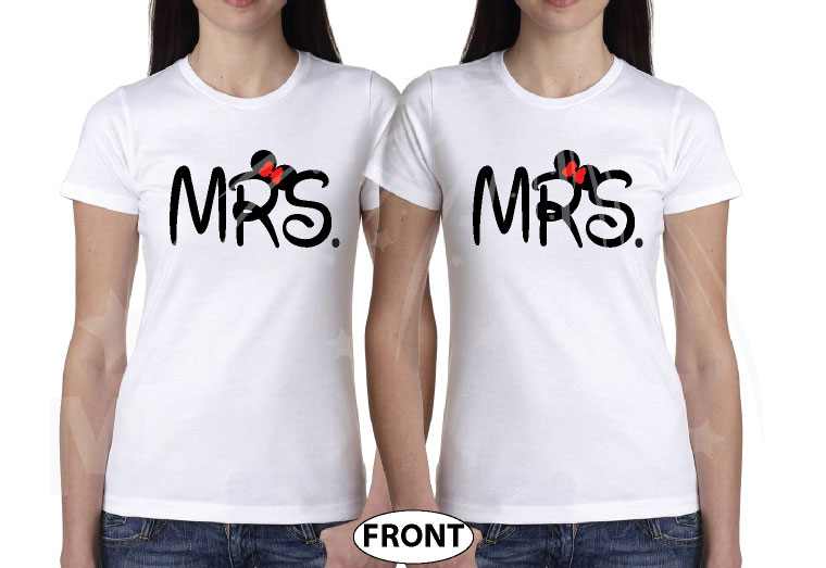 LGBT Lesbians Couple Very Cute Shirts For Mrs Just Married With Wedding Date married with mickey mwm white tshirts