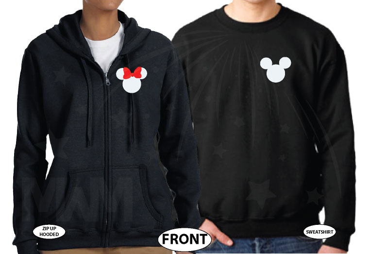 Cute Addicted To Disney Mickey Minnie Heads Minnie Bow married with mickey black sweater