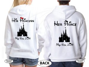 Soulmate His Princess Her Prince Disney Castle Custom Wedding Date married with mickey white sweaters