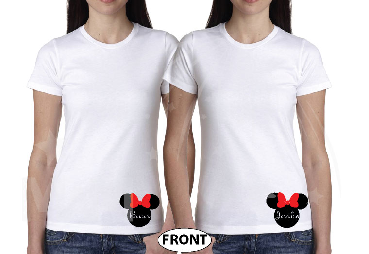 Big Sis Lil Sis Disney Family Shirts With Custom Names married with mickey white tshirts