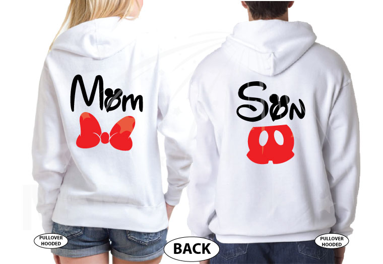 Family 2 Shirts, Mom Son Minnie Mouse Cute Red Bow Mickey Mouse Pants (add names on front) married with mickey white sweatshirts