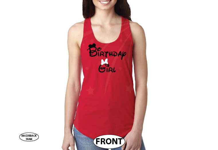 Birthday Girl Minnie Mouse Cute Red Bow On Shirt married with mickey red tank top