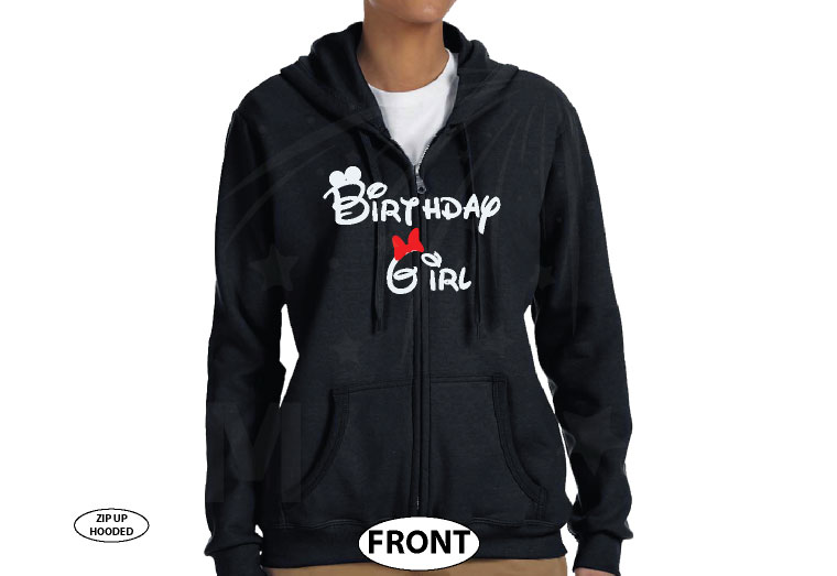 Birthday Girl Minnie Mouse Cute Red Bow On Shirt married with mickey black zip up