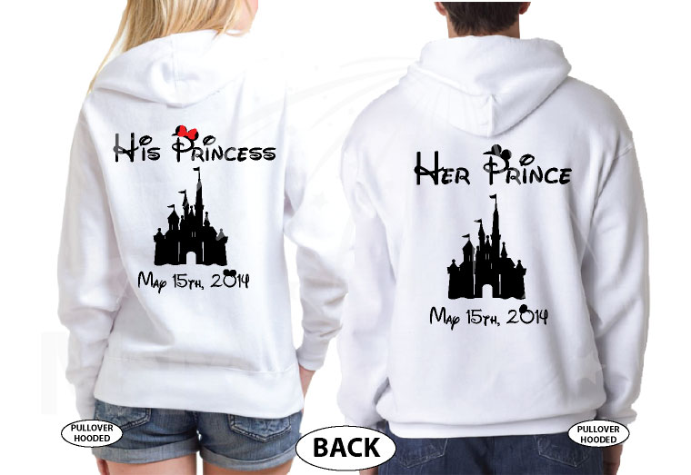 Mr Mrs Little Mickey Minnie Mouse Kiss His Princess Her Princess Disney Castle Wedding Date married with mickey white sweatshirts