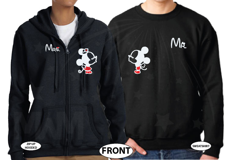 Mr Mrs Little Mickey Minnie Mouse Kiss His Princess Her Princess Disney Castle Wedding Date married with mickey black sweatshirts
