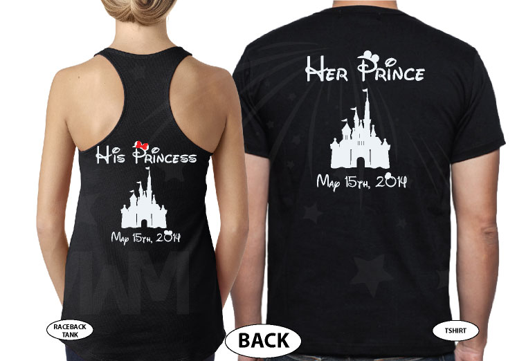 Mr Mrs Little Mickey Minnie Mouse Kiss His Princess Her Princess Disney Castle Wedding Date married with mickey black tank and tee