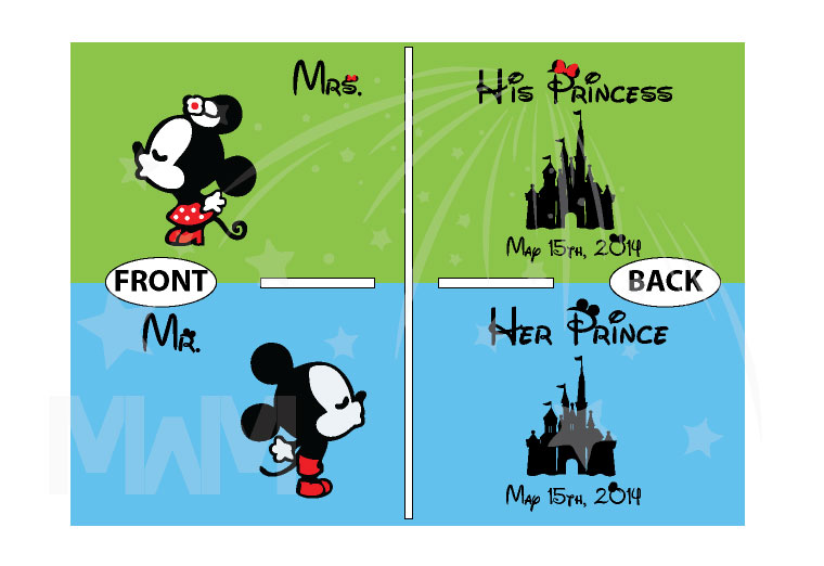 Mr Mrs Little Mickey Minnie Mouse Kiss His Princess Her Princess Disney Castle Wedding Date married with mickey