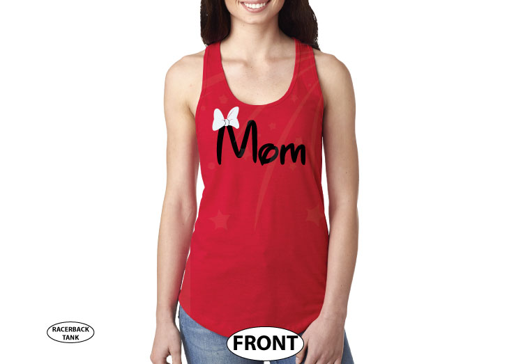 Mom Disney Font Shirt Minnie Mouse With Disney Castle Cute Red Bow married with mickey red tank top