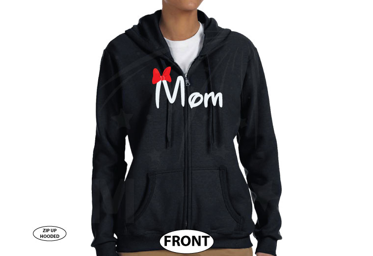 Mom Disney Font Shirt Minnie Mouse With Disney Castle Cute Red Bow married with mickey black sweaters