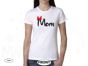 Mom Disney Font Shirt Minnie Mouse With Disney Castle Cute Red Bow married with mickey white tshirt