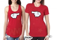 LGBT Lesbian Aye She's Mine Couple Shirts Minnie Mouse Pointing Hand married with mickey red tees