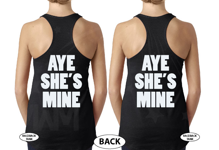LGBT Lesbian Aye She's Mine Couple Shirts Minnie Mouse Pointing Hand married with mickey black tank tops