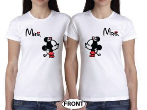 LGBT Lesbian Couple Shirts For Mrs Kissing Minnie married with mickey white tshirts