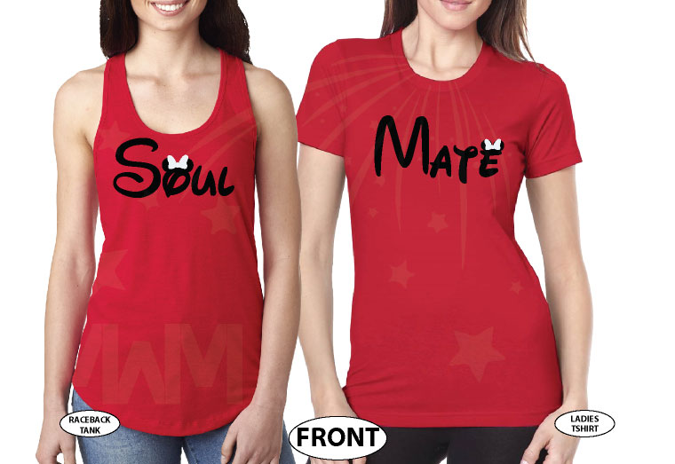 LGBT Lesbian Soul Mate Couple Shirts married with mickey red tshirts