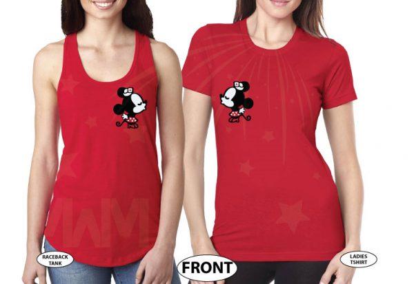 LGBT Lesbian Matching Couple Shirts Soulmate Soul Mate Very Cute Little Kissing Minnie Mouse MWM Married With Mickey married with mickey red tshirts