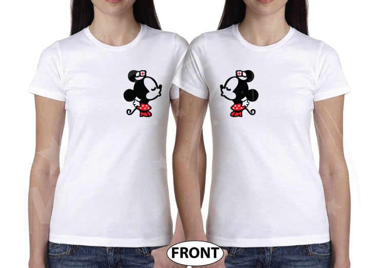 LGBT Lesbian Matching Couple Shirts Soulmate Soul Mate Very Cute Little Kissing Minnie Mouse MWM Married With Mickey married with mickey white tshirts