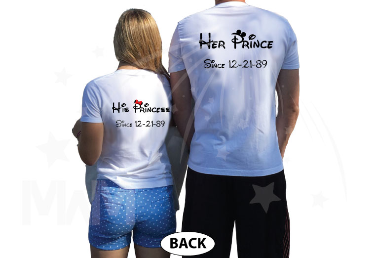 Wifey Hubby His Princess Her Prince Wedding Date Married With Mickey white tshirts