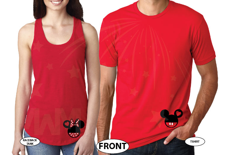 Cinderella Castle Mickey Head Family Vacation Custom Text Custom Date Minnie Mouse Head 2018 married with mickey red tee and tank