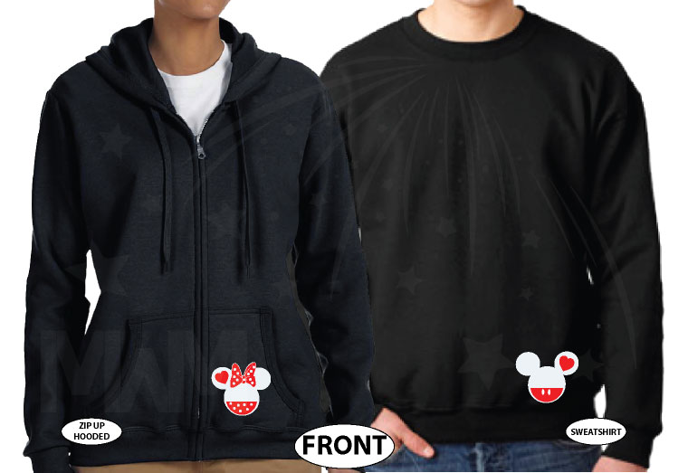 Cinderella Castle Mickey Head Family Vacation Custom Text Custom Date Minnie Mouse Head 2018 married with mickey black zip up and sweater