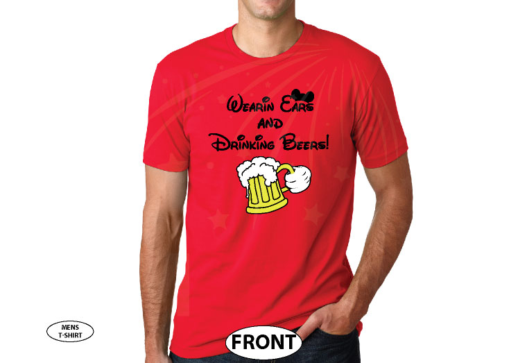 Wearing Ears and Drinking Beers! Mickey Mouse Hand and Beer Mickey Ears married with mickey red tshirt