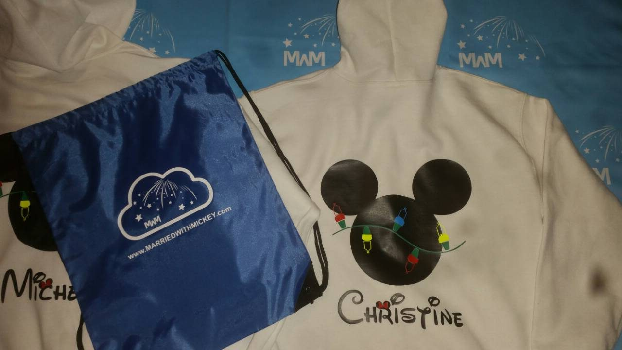 Christmas Shirt Mickey Mouse Christmas Light Bulds With Name marriedd with mickey white hoodies