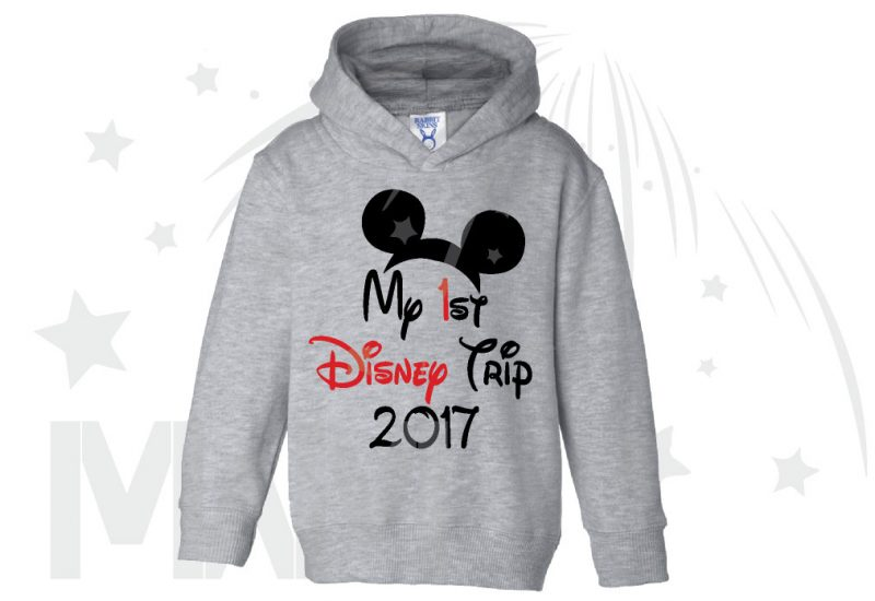 My 1st First Disney Trip 2017 Boy's Toddler Sizes Married With Mickey grey hoodie