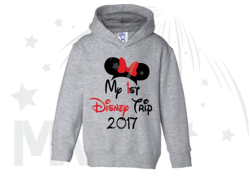 My 1st First Disney Trip 2017 Girl's Design Toddler Sizes Married With Mickey grey hoodie