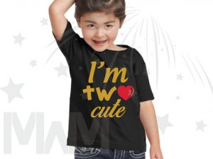 I'm Two Cute Shirt for 2 Year Old Toddler Size Gold Design WIth Red Heart married with mickey black tshirt