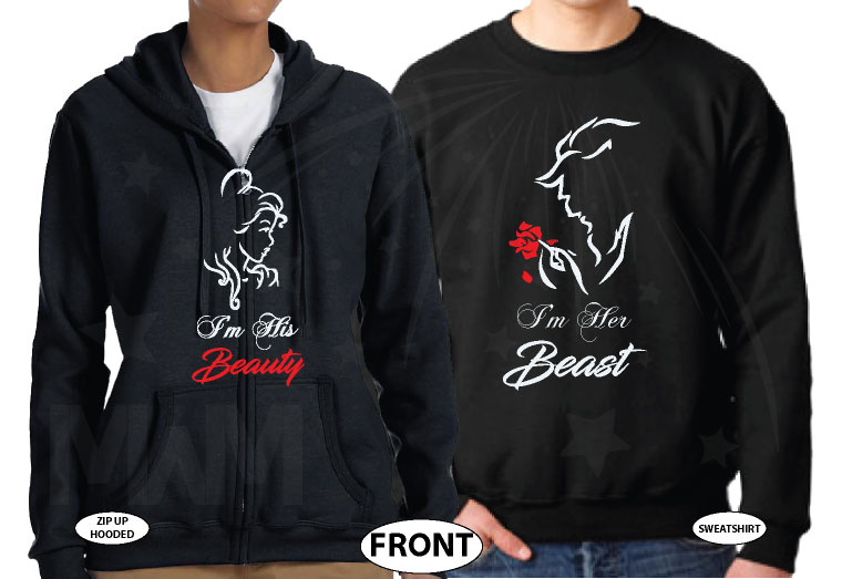 I'm His Beauty I'm Her Beast Design married with mickey black zip up and sweater