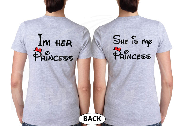 LGBT Lesbian Matching Couple Shirts I'm Her Princess She's My Princess Kissing Minnie Mouse married with mickey grey tshirts