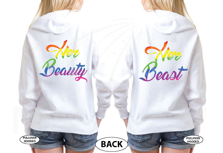 LGBT Lesbian Matching Shirts Beast With Lion Scratch Rainbow Colors Beauty With Cute Lips Rainbow Colors married with mickey white sweaters