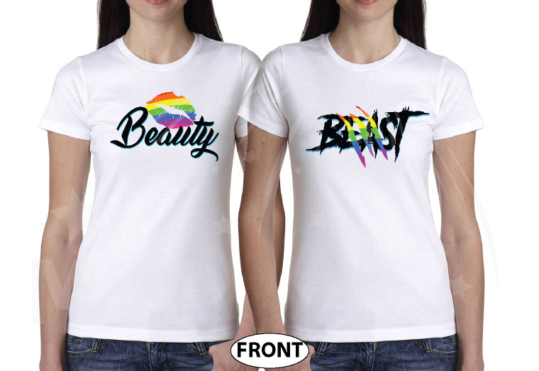 LGBT Lesbian Matching Shirts Beast With Lion Scratch Rainbow Colors Beauty With Cute Lips Rainbow Colors married with mickey white tshirts