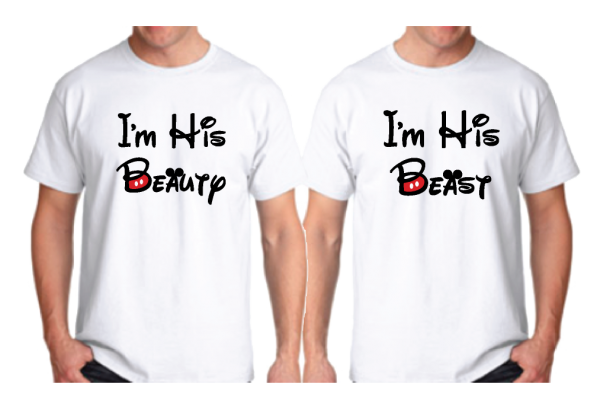 LGBT Gay I'm His Beauty I'm His Beast Mr Since Wedding Custom Date Mickey Mouse Hands in Heart Shape married with mickey white men's t-shirts