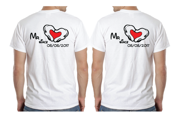 LGBT Gay I'm His Beauty I'm His Beast Mr Since Wedding Custom Date Mickey Mouse Hands in Heart Shape married with mickey white mens tshirts