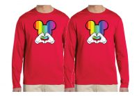 LGBT Gay Mickey Mouse Head Rainbow Colors I'm His He's Mine Mickey Mouse Hand married with mickey red long sleeves