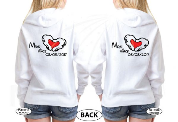 500483 LGBT Lesbian I'm Her Beauty I'm Her Beast Mrs Since Wedding Custom Date Minnie Mouse Hands in Heart Shape married with mickey white sweatshirts