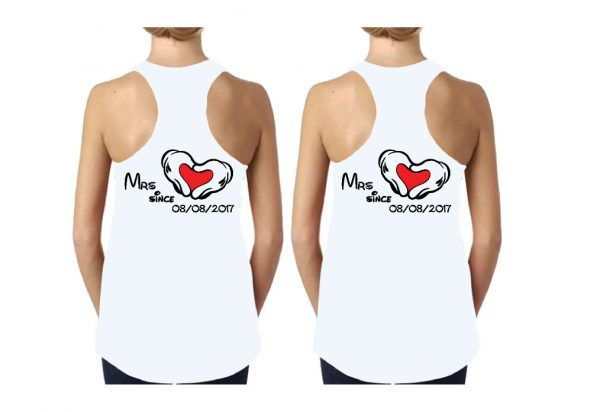 LGBT Lesbian I'm Her Beauty I'm Her Beast Mrs Since Wedding Custom Date Minnie Mouse Hands in Heart Shape married with mickey white ladies tank tops