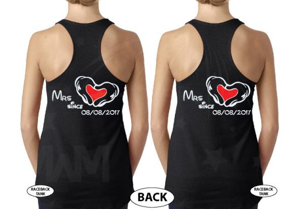 500483 LGBT Lesbian I'm Her Beauty I'm Her Beast Mrs Since Wedding Custom Date Minnie Mouse Hands in Heart Shape married with mickey black tank tops