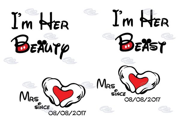LGBT Lesbian I'm Her Beauty I'm Her Beast Mrs Since Wedding Custom Date Minnie Mouse Hands in Heart Shape married with mickey