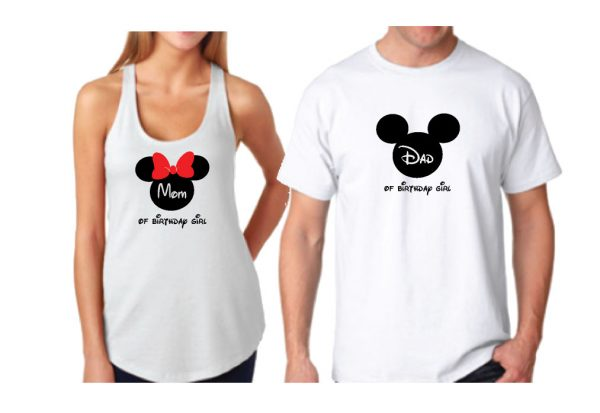 Cute Mickey Dad Of Birthday Boy (Girl), Minnie Mouse Mom Of Birthday Boy (Girl) Disney Cinderella Castle Family Vacation 2018 married with mickey white tshirt and tank top
