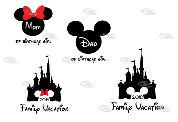 Cute Mickey Dad Of Birthday Boy (Girl), Minnie Mouse Mom Of Birthday Boy (Girl) Disney Cinderella Castle Family Vacation 2018 married with mickey