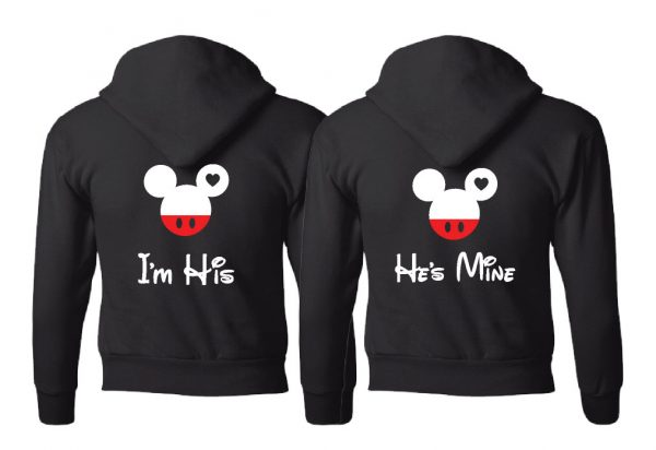 LGBT Gay Matching Couple Shirts Mickey Head I'm His He's Mine Mickey Mouse Hands In Heart Shape With Innitials married with mickey mwm black hoodies