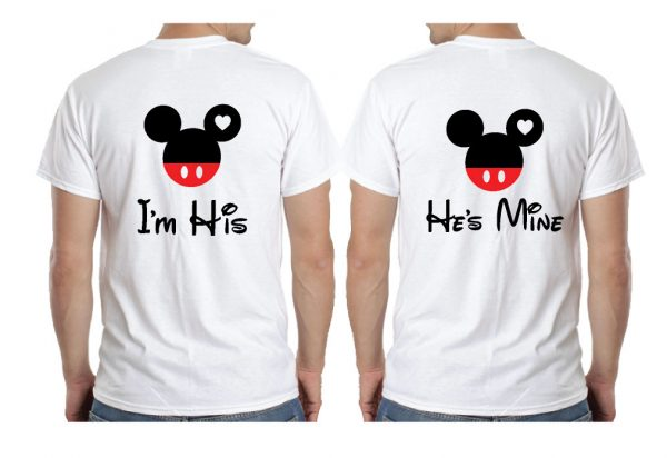 LGBT Gay Matching Couple Shirts Mickey Head I'm His He's Mine Mickey Mouse Hands In Heart Shape With Innitials married with mickey mwm white tshirts
