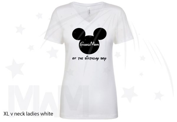 Custom Order For Maria, 3 White Tshirts, Birthdya Boy, Brother of Birthday Boy, GrandMom of Birthday Boy, married with mickey, white ladies v neck tshirt
