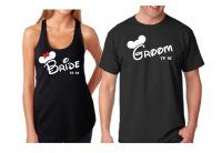 Bride To Be Groom To Be His Princess Her Prince With Wedding Date Mickey's Hands In Heart Shape married with mickey black mens tshirt ladies racerback tank top