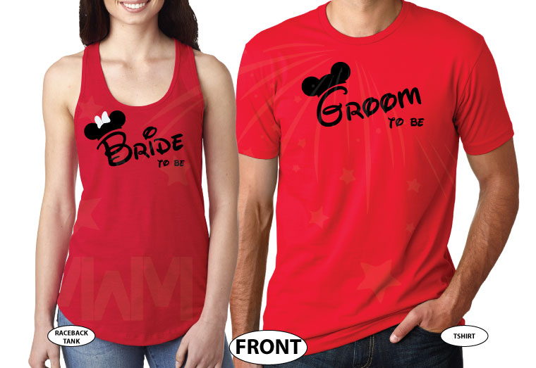 Bride To Be Groom To Be His Princess Her Prince With Wedding Date Mickey's Hands In Heart Shape married with mickey red tee and tank