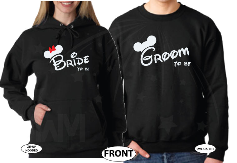 Bride To Be Groom To Be His Princess Her Prince With Wedding Date Mickey's Hands In Heart Shape married with mickey black hoodies