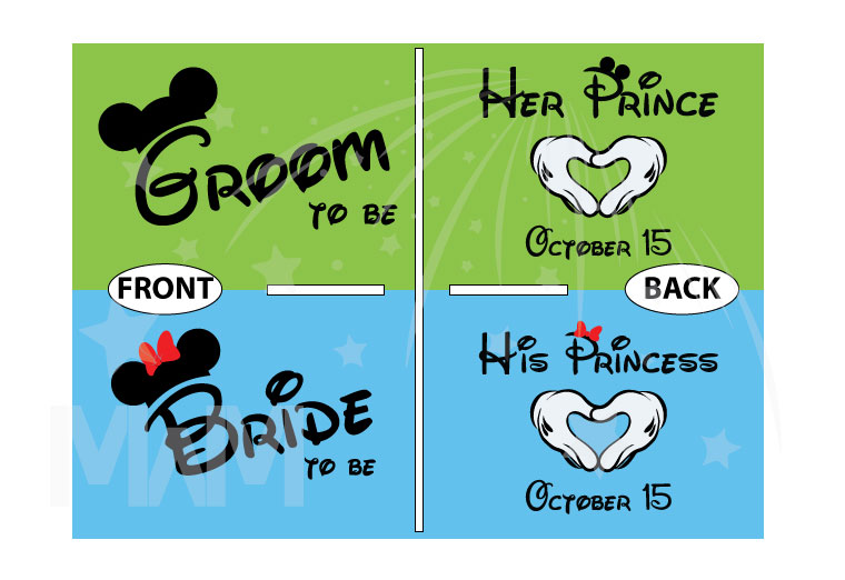 Bride To Be Groom To Be His Princess Her Prince With Wedding Date Mickey's Hands In Heart Shape married with mickey