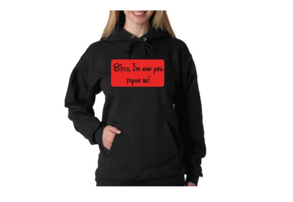 Bitch I'm who you tryna be! married with mickey black pullover