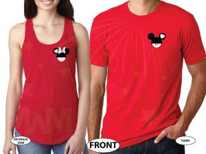 Mickey Minnie Heads Mr and Mrs Custom Name Minnie Mouse Red Polka Dot Bow and Mickey Mouse Head on the hood married with mickey